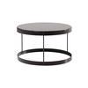 """Black Quartz """"Drum"""" Coffee Table With Black Frame ( H: 36cm Diam: 60cm)"""