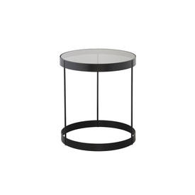 """Grey Glass """"Drum"""" Lamp Table with Black Frame"""