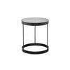 Grey Glass 'drum' Lamp Table With Black Frame (40cm X 46cm H)
