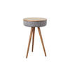Blue Tweed Effect & Walnut Wood Radio Lamp Table (41cm X 66cm H)