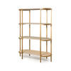 Grey Oak & Brushed Gold 4 Tier Shelving Unit (105cm X 46cm X 147cm H)