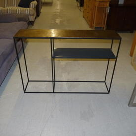 Conran Brass Hammered Top Black Steel Frame with Undershelf