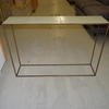 Conran Cream Ceramic Top Brass Base Console Table