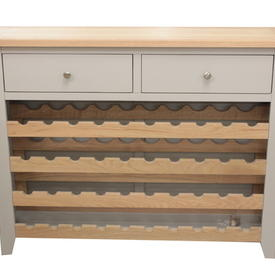 Cots French Grey & Oak Chester 2 Drawer Wine Rack