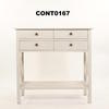 4 Reeded Drawer Painted X Sides Console Table