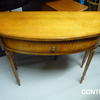 Yew Half Round 1 Drawer Turned Leg Hall Table