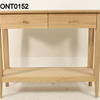 Soaped Oak 2 Drawer 100 X36 Rounded Corner Console With Shelf