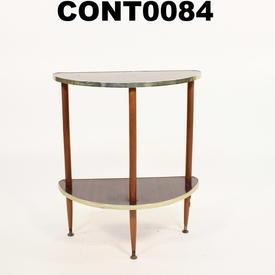 Gilt Edge/Rosewood Formica 1/2 Round 2 Tier Hall Table