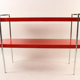 Gamma Red Laquered & Chrome Oval Console Table