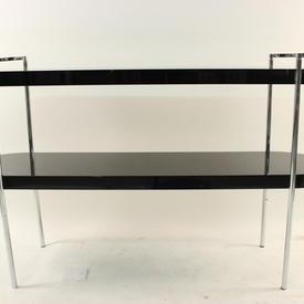 Gamma Black Lacquered & Chrome Oval Console Table