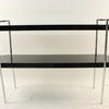 Gamma Black Lacquered & Chrome Oval Console Table