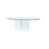 Clear Glass 'sprial' Base Dining Table With Oval Clear Glass Top   (120cm X 200cm X H73cm)