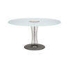 Steel Spoke Base 'rondo' Dining Table With Circ. Sandblasted Glass Top   (138cm X H72cm)