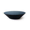 Large Circ. Black Pond Coffee Table With Blue Glass Top (121cm X 31cm H)