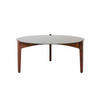 Tri Leg Rosewood Base Coffee Table With Black Glass Insert