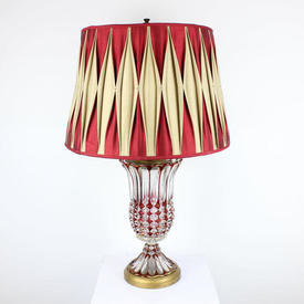 Red & Clear Cut Glass Urn Shaped Table Lamp On Circular Brass Base
