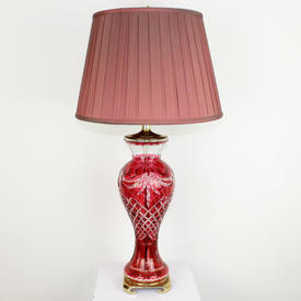 Cranberry Red Cut Glass, Shaped Table Lamp On Sq Brass Base & Top.