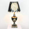 Small Black Chinese Patt Toleware Lamp & Shade