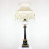 Blk & Brass Column Table Lamp On Sq Base W Ith Cut Glass Oil Lamp Top.