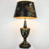 Black Chinese Patt Toleware Lamp & Shade