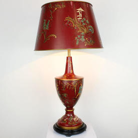 Red Chinese Patt Toleware Lamp & Shade