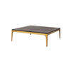 Square Dark Oak 'canyon' Coffee Table On Antique Brass Frame (110cmx 110cm X 33cm H)