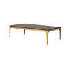 Rect. Dark Oak 'canyon' Coffee Table On Antique Brass Frame (150cm X 80cm X 40cm H)
