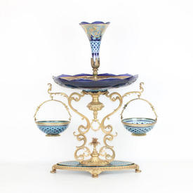 74Cm Blue Glass & Gilded Bronze Epergne Centre Piece with Vase Top & 2 Hanging Baskets