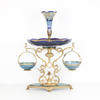 74 Cm Blue Glass & Gilded Bronze Epergne Centre Piece With Vase Top & 2 Hanging Baskets (Y)