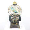 Victorian Wooden Toy Bird In Wooden & Wire Cage  (Y)