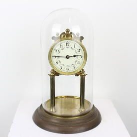 "12"" Brass Pillar Anniversary Mantel Clock with Enamel Face & Dome Glass Case"