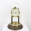"12"" Brass Pillar Anniversary Mantel Clock With Enamel Face & Dome Glass Case (Y)"