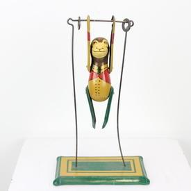 27cm Green & Yellow Vintage Metal Toy Tumbling Monkey On Trapeze (Y)