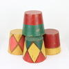 Wooden Painted Harlequin Decor, Conical Shaped Building Blocks. (Y)