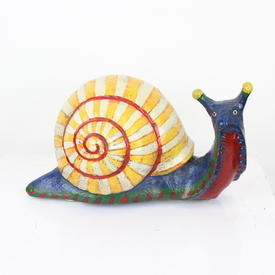 Stone Painted Blue Snail With Orange/White Shell  (Y)
