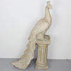 3' Carved Wooden Peacock On Pillar  (Y)