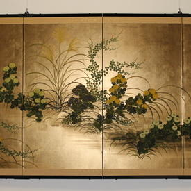 6' 4 Fold Gold Leaf Chinese Patt Wall Panel With 2 Metal Brackets & 2 Metal Clips (H92cm X W180cm)