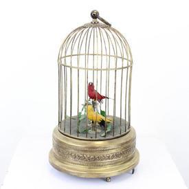 28 Cm Brass Victorian Automaton Birdcage With 2 Singing Birds (1 X Yellow/1 X Red) (Y)