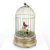 28 Cm Brass Victorian Automaton Birdcage With 2 Singing Birds (1 X Yellow/1 X Red) (Y)