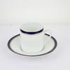 White & Blue /Gold Rim Bone China Coffee Saucer  (Y)