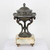 30cm Spelter Raised Decorative Dish With Lid On Pink Marble Base. (Y)