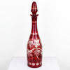 38cm Red Etched Glass Decanter With Stopper. (Y)