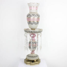 65Cm Victorian Style Lustre, Etched Cream & Pink Glass Shaped Top Funnel