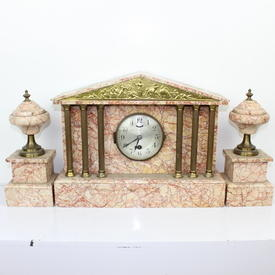 39Cm Wide Pink Marble 'Palladium' Clock with Brass Columns & inset Tup Panel