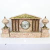 39cm Wide Pink Marble 'palladium' Clock With Brass Columns & Inset Tup Panel (Y)