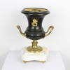 Bronze & Brass Trophy Shape Side Urns On White Marble Base, Brass Handles. (Y)