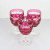 9.5cm Red Cut Glas Sherry Glass.  (Y)