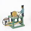 "7"" Green Wooden Toy Man Grinding Scissors  (Y)"