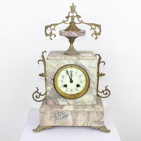 Pink Marble Clock, Brass Decorative Top & Sides, Brass Rim Face