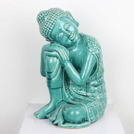 Blue Glazed Ceramic Buddha, Sitting 'Resting'